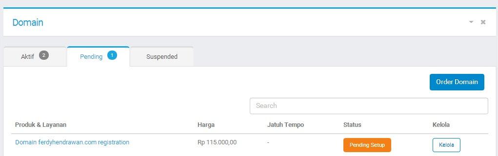Domain Pending Setup pada Niagahoster